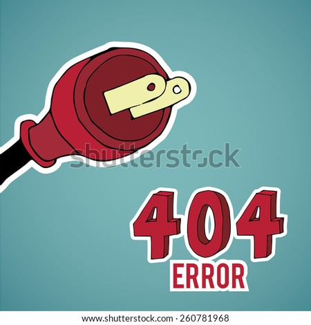 Error 404, red pin, over blue color background - stock vector