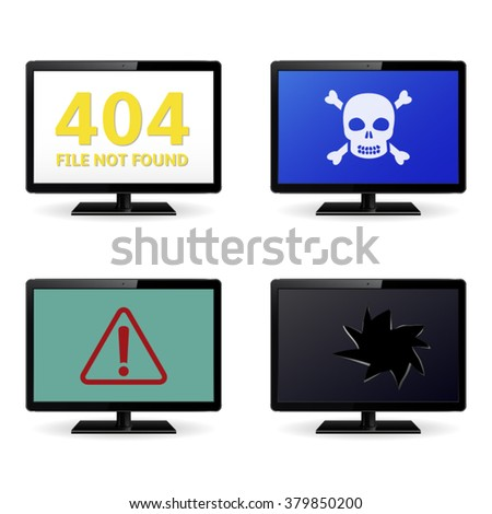 Error Sign on LCD Monitor Screens - stock vector