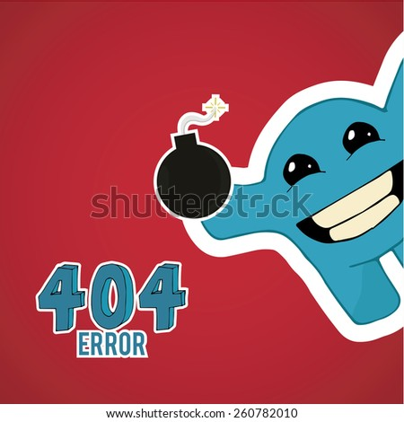 Error 404, smiling monster offset with bomb on blue color background - stock vector