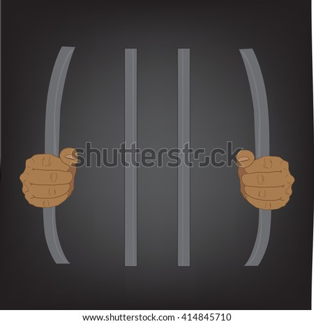 escape from prison, stupid concept, vector illustration  - stock vector