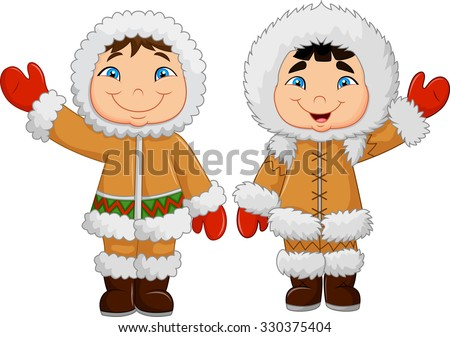 Eskimo clothes. Happy little kids waving . vector isolated on white background - stock vector