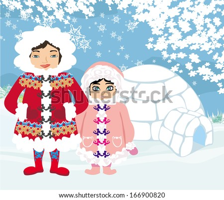 eskimos and igloo at the evening  - stock vector