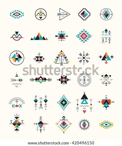 Esoteric, Alchemy, boho, bohemian sacred geometry, tribal and Aztec, sacred geometry, mystic shapes, symbols - stock vector