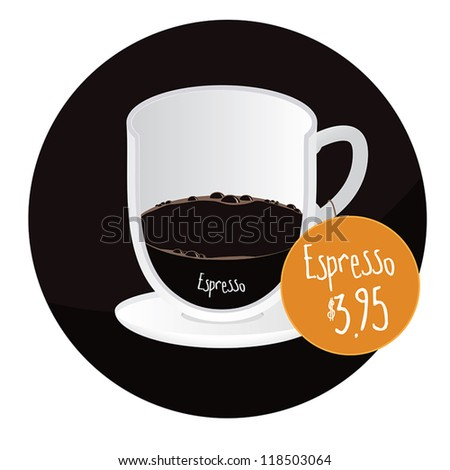 Espresso coffee cup restaurant, cafe label/sticker with price tag - stock vector