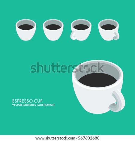 Espresso Cup - Vector Isometric Illustration. Adjustable and editable isometric icon in four directions.