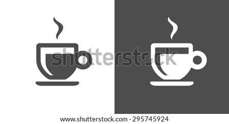 Espresso icon. Two-tone version of espresso vector icon on white and black background - stock vector