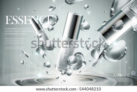 essence contained in silver bottles, with bubble background, 3d illustration