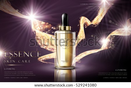 essence skin care contained in a droplet bottle on purple background in 3d illustration