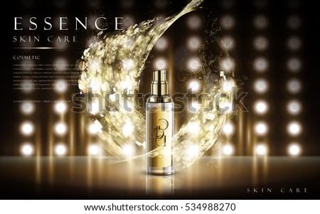 essence skin care product contained in transparent bottle, with magical special effect, 3d illustration