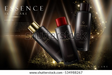 essence skin care products in black bottles, night sky background, 3d illustration