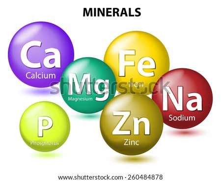 Essential chemical minerals or Dietary element. mineral nutrients. minerals and trace minerals are inorganic elements. Human body needs them to grow and stay healthy. Vector Illustration - stock vector