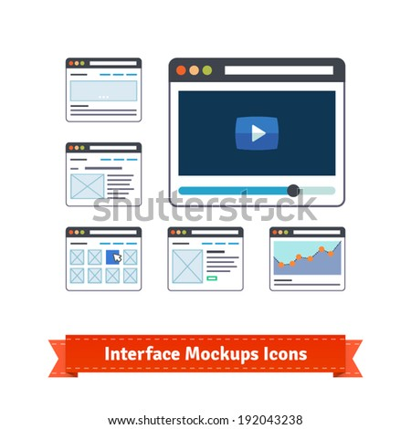 Essential website interface prototyping mockups and wireframes icons. EPS10 vector. - stock vector