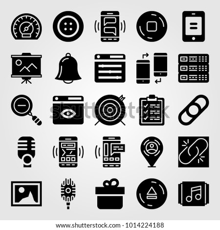 Essentials vector icon set. presentation, microphone, broken link and stop