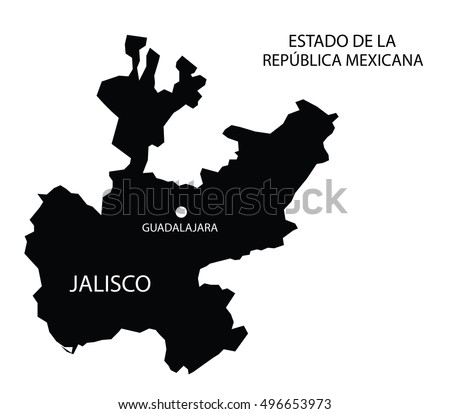 Estado De Jalisco, Mexico, vector map isolated on white background.