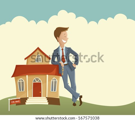 Estate agent and house - stock vector