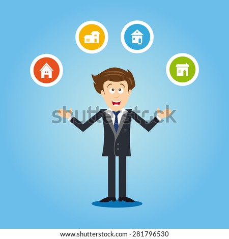 Estate agent with arms up, offering houses to buy. Brown hair. - stock vector
