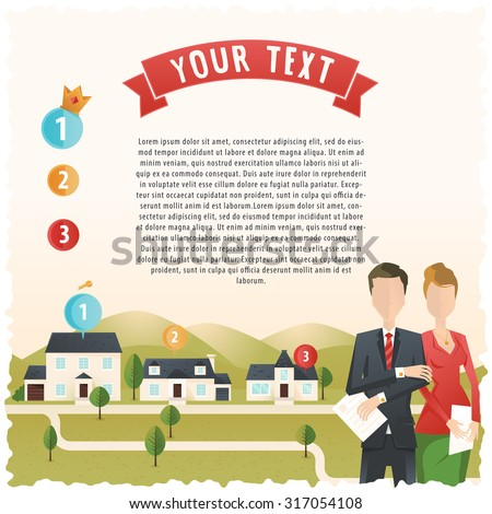 Estate agents and houses - stock vector