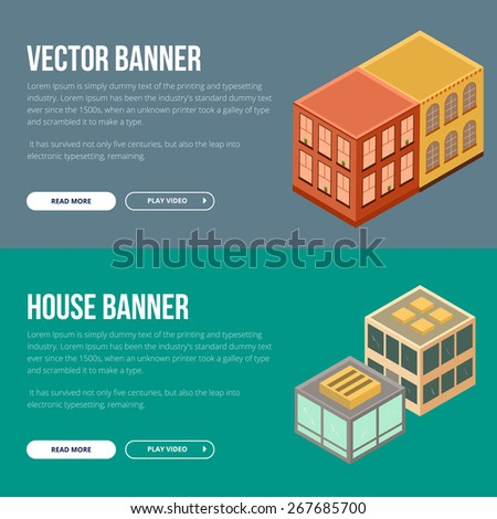 Estate vector banner with houses. Flat concept banner for web development and printing. - stock vector