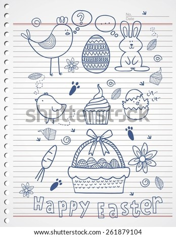 ester story doodle on paper - stock vector