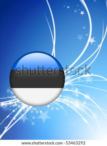 Estonia Flag Button on Abstract Light Background Original Illustration - stock vector