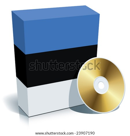 Estonian software box with national flag colors and CD.