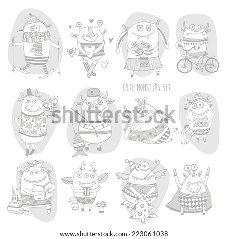 et of different cute funny cartoon monsters  - stock vector