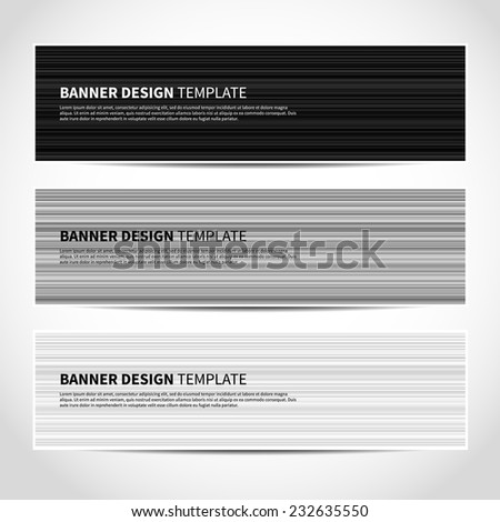 et of trendy monochrome black and white striped vector banners template or website headers with abstract geometric background. Vector design illustration EPS10 - stock vector