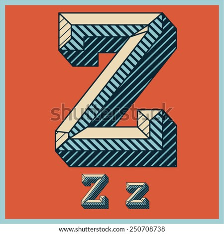 Etched vector font set of engraved letters. Old school beveled alphabet. Character Z - stock vector
