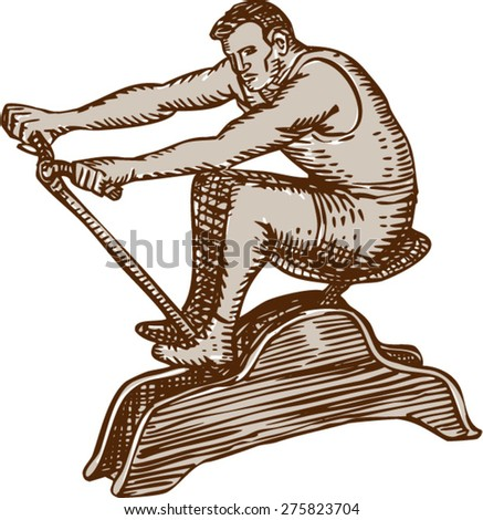 Etching engraving handmade style illustration a male athlete exercising riding a vintage rowing machine rowing viewed from the side set on isolated white background. 