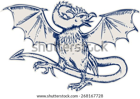 Etching engraving handmade style illustration of a basilisk ,head of rooster, wings of a bat and with a snake-like rump that ends in an arrowpoint on isolated background. - stock vector