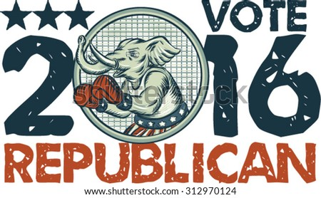 Etching engraving handmade style illustration of an American Republican elephant boxer mascot boxing with boxing gloves wearing USA stars and stripes flag shorts with words Vote Republican 2016. - stock vector
