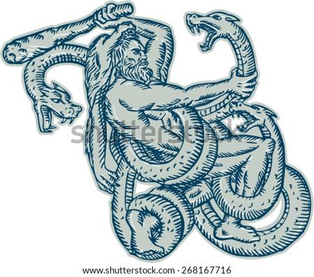 Etching Engraving Handmade Style Illustration Hercules Stock Vector