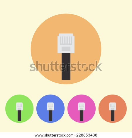 ethernet cable flat colored round icons - stock vector