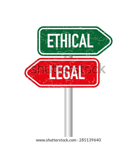 Ethical and legal signpost - stock vector