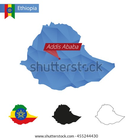 Ethiopia blue Low Poly map with capital Addis Ababa, versions with flag, black and outline. Vector Illustration. - stock vector