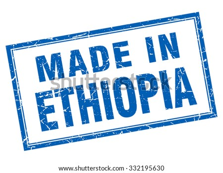 Ethiopia blue square grunge made in stamp