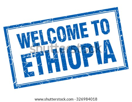 Ethiopia blue square grunge welcome isolated stamp