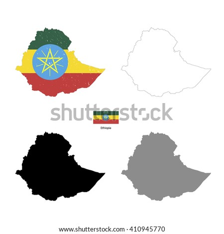 Ethiopia country black silhouette and with flag on background, isolated on white - stock vector