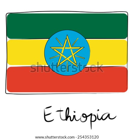 Ethiopia country flag doodle with text isolated on white - stock vector