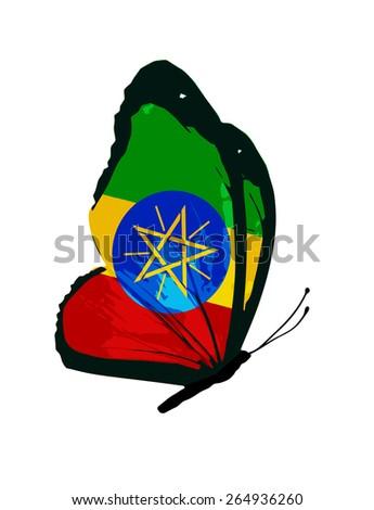 Ethiopia flag butterfly - vector - stock vector