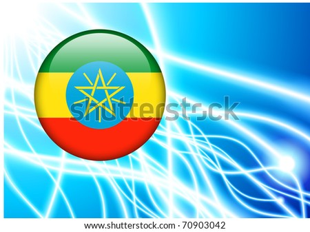 Ethiopia Flag Button on Abstract Light Background Original Illustration - stock vector