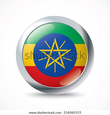 Ethiopia flag button - vector illustration