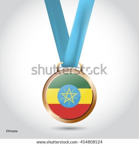Ethiopia Flag in Bronze Medal. Olympic Game Bronze Medal. Vector Illustration - stock vector