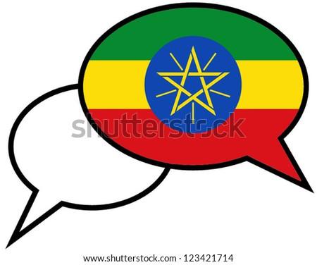 ETHIOPIA flag on speaking bubble - stock vector