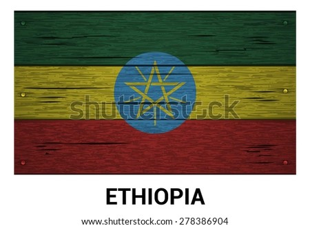 Ethiopia flag on wood texture background - vector illustration - stock vector