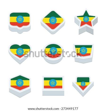 ethiopia flags icons and button set nine styles