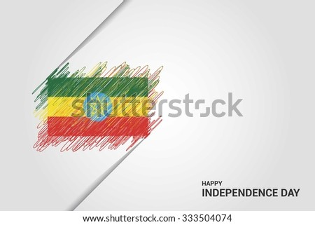 Ethiopia Happy independence day scribble flag. Hand drawn Country flag on Gray crumbled paper. vintage background wallpaper vector illustration. - stock vector