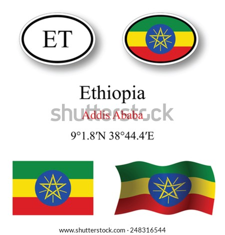 Ethiopia icons set against white background, abstract vector art illustration, image contains transparency