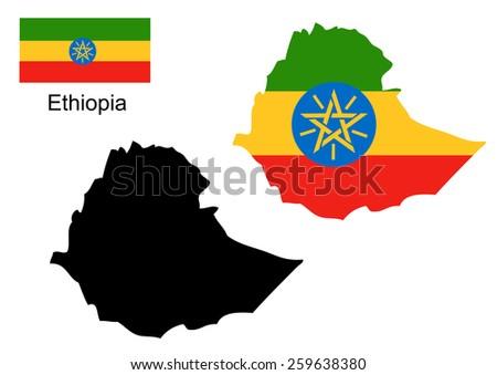 Ethiopia map and flag vector, Ethiopia map, Ethiopia flag - stock vector