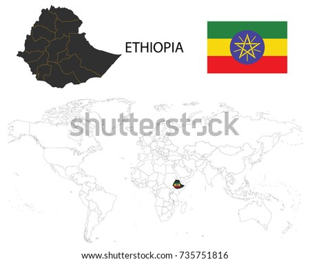 Ethiopia Map On World Map Flag Stock Photo Photo Vector